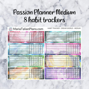 Habit Tracker Stickers for Passion Planner - Dream World | Small, Medium & Large Size
