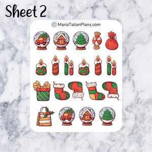 Holiday Deco Stickers | Decorative Christmas Planner Stickers