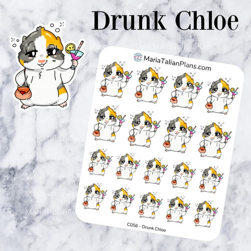 Drunk Chloe | Guinea Pig Stickers | Decorative Stickers