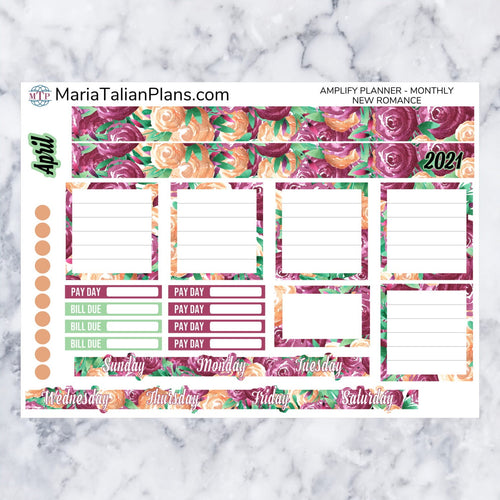 Amplify Planner Monthly kit - New Romance | Planner Stickers