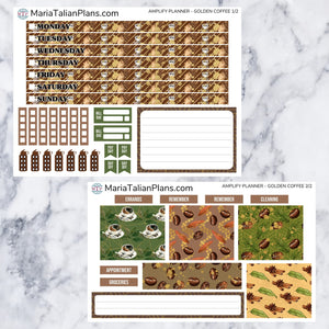 Amplify Planner Weekly kit - Golden Coffee | Planner Stickers