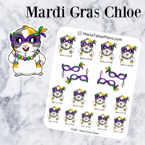 Mardi Gras Chloe | Guinea Pig Stickers | Decorative Stickers