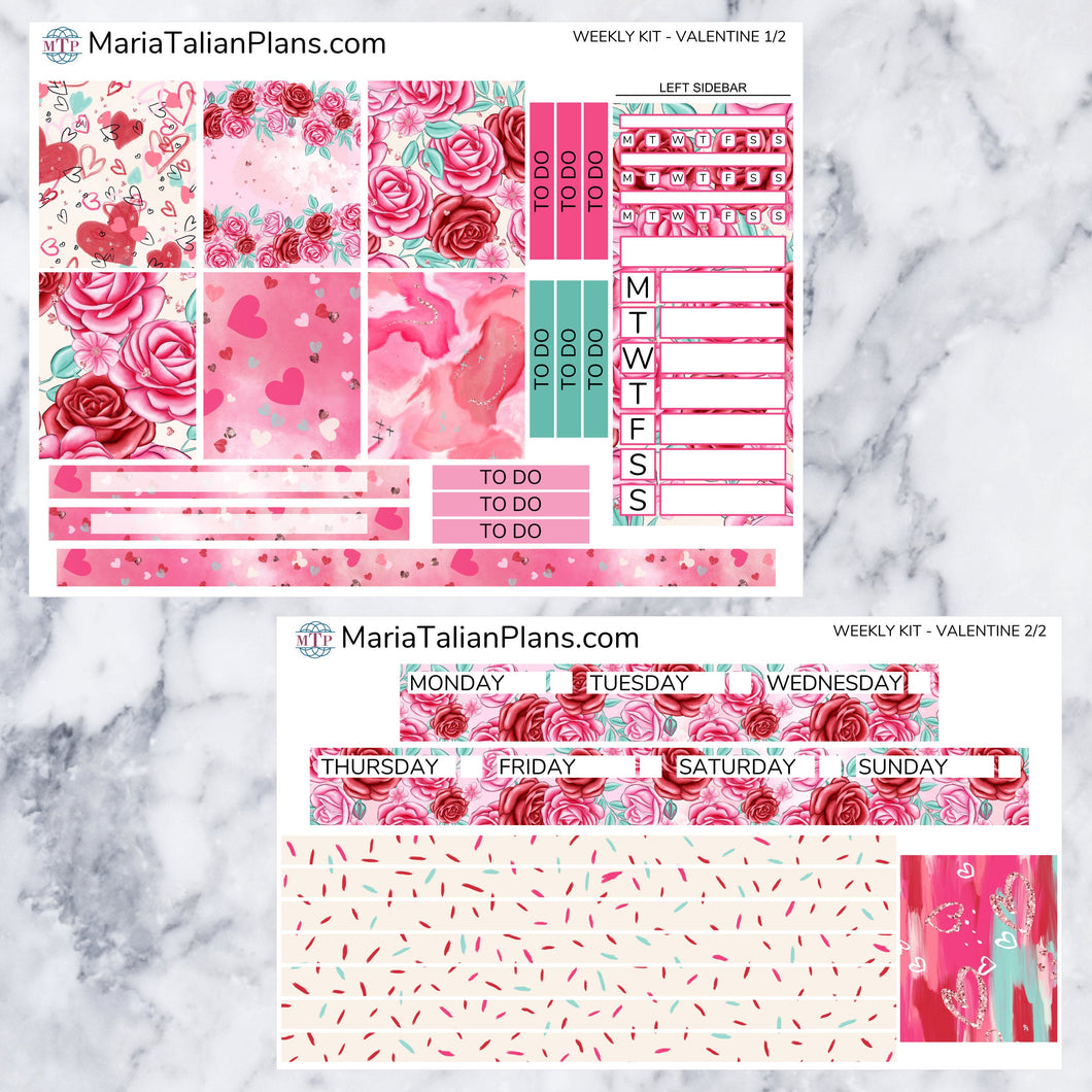 Passion Planner Weekly Sticker Kit - Valentine | Small, Medium, and Large Size | Planner Stickers