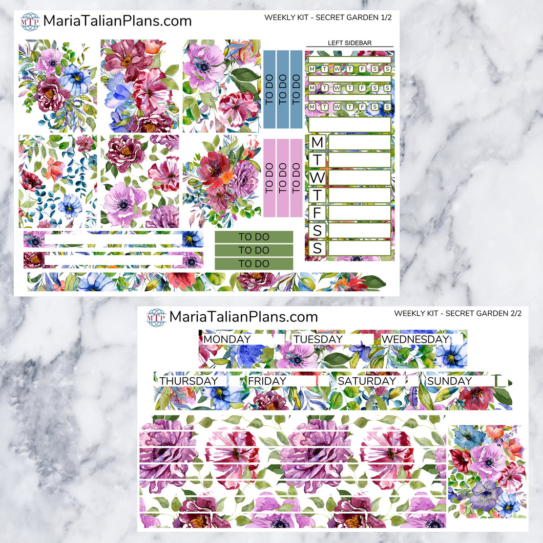 Passion Planner Weekly Sticker Kit - Secret Garden | Small, Medium, and Large Size | Planner Stickers