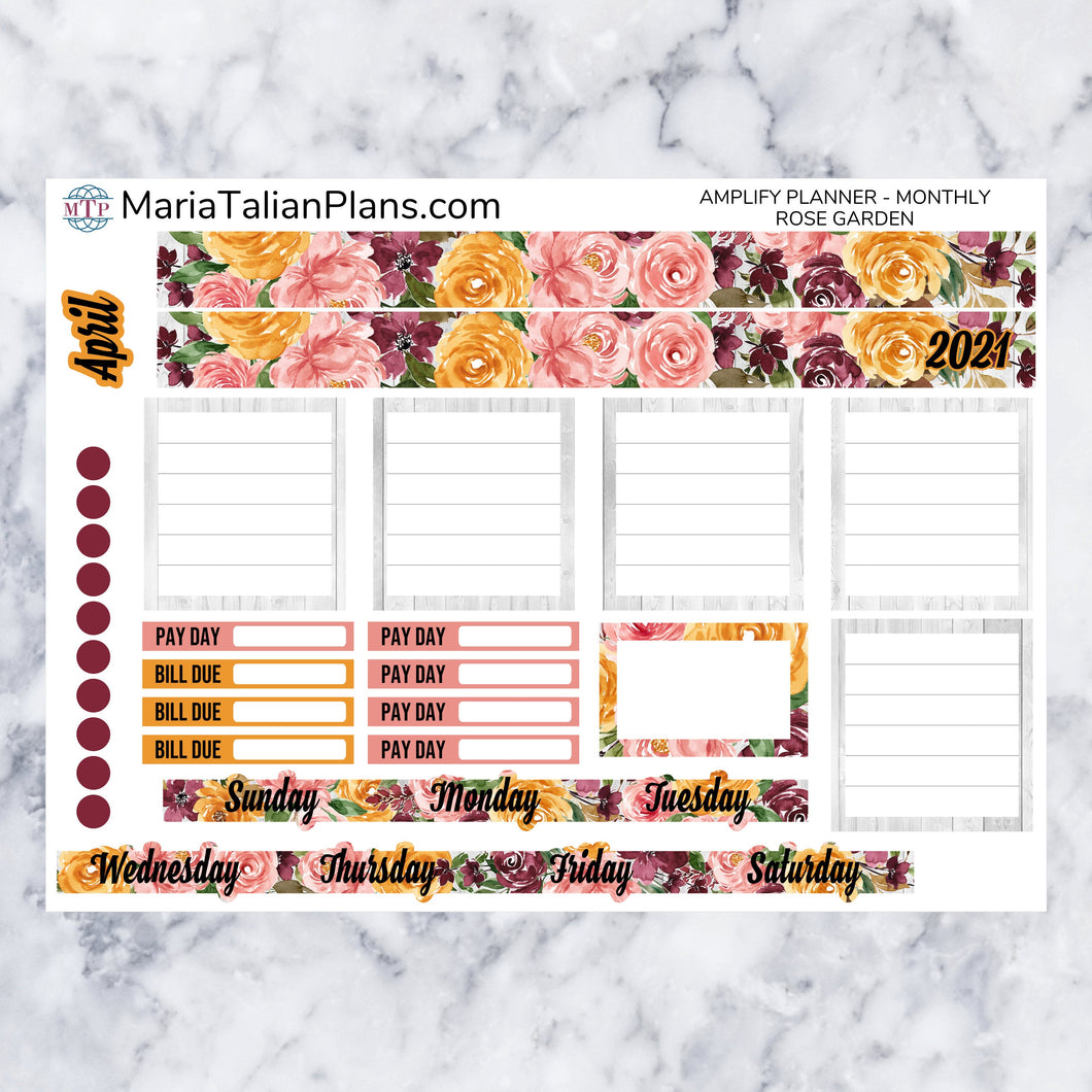 Amplify Planner Monthly kit - Rose Garden | Planner Stickers