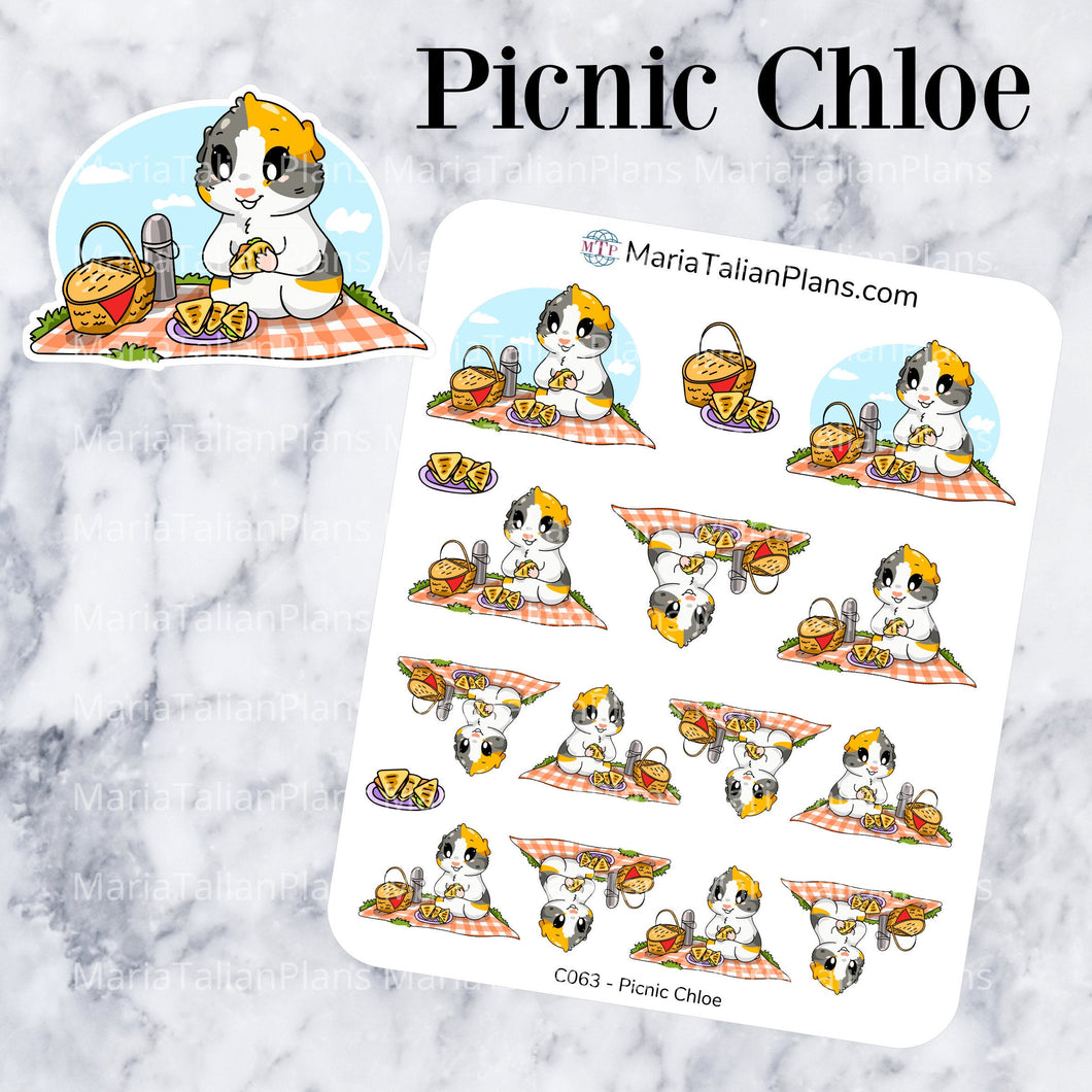 Picnic Chloe | Guinea Pig Stickers | Decorative Stickers