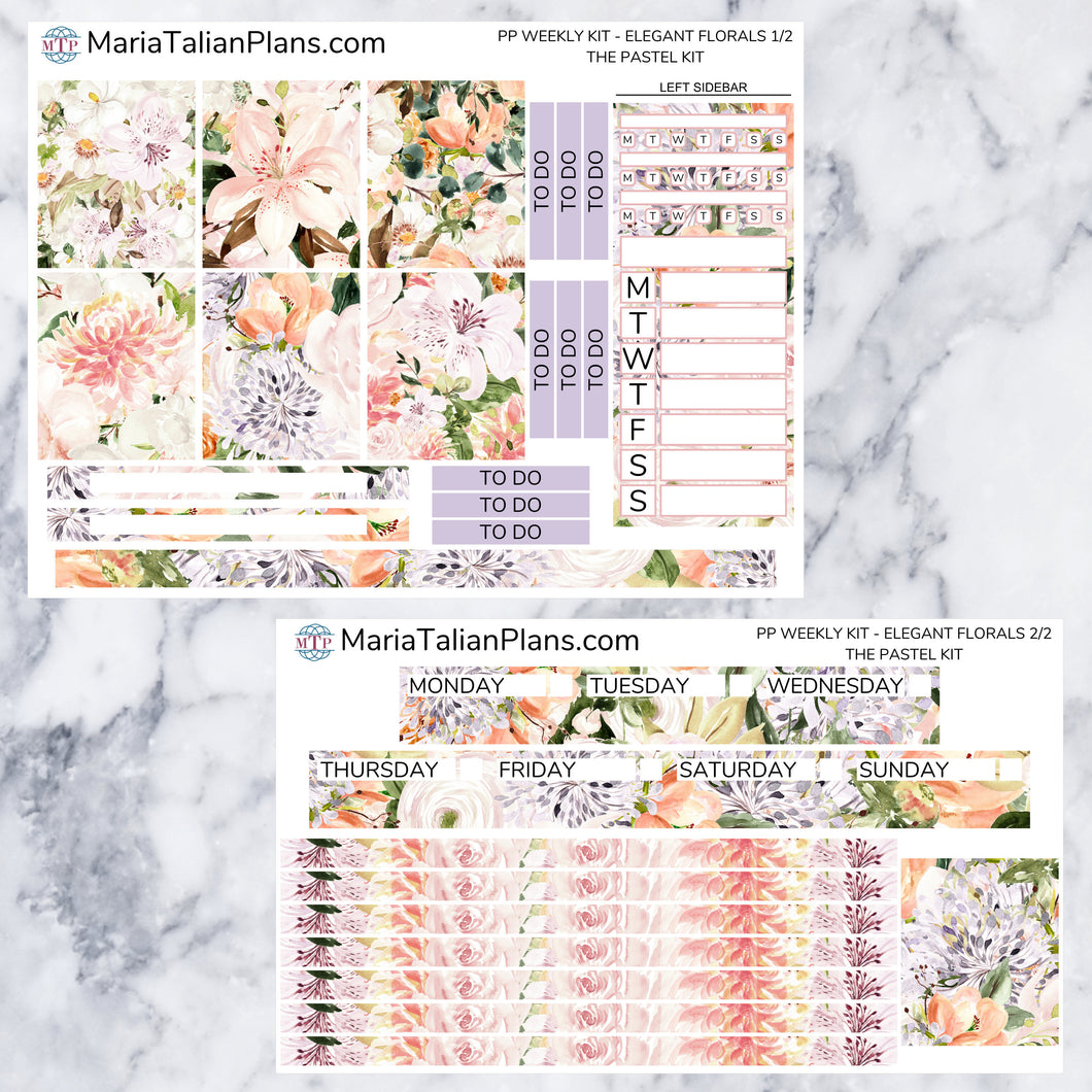 Passion Planner Weekly Sticker Kit - Pastel Elegant Florals | Small, Medium, and Large Size | Planner Stickers
