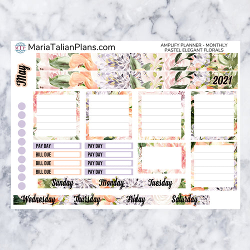Amplify Planner Monthly kit - Pastel Elegant Florals | Planner Stickers