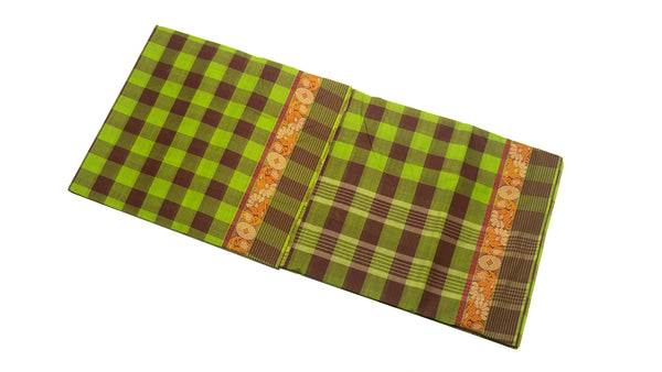 39462 Pure Cotton Saree  thread border multicolour checks Green and Brown Mix