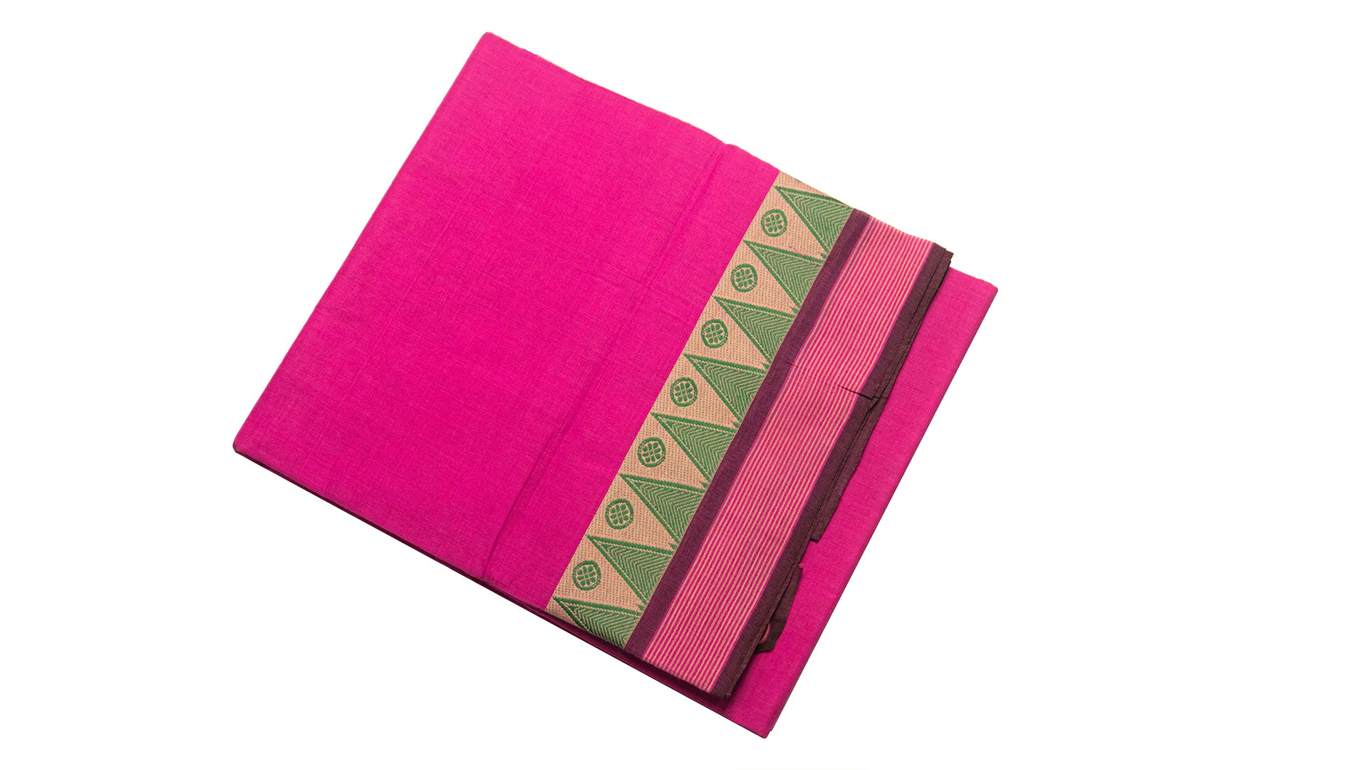 39426  Pure Cotton Saree thread temple border Pink with Green border