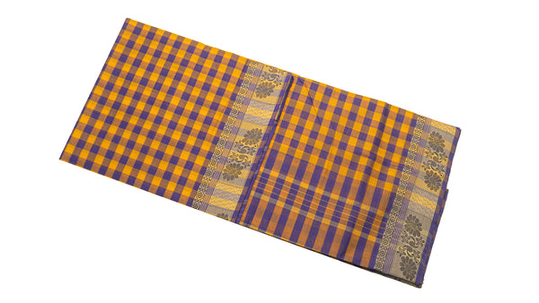 39443 Pure Cotton Saree  thread border multicolour checks Orange with Grey and Violet Checks