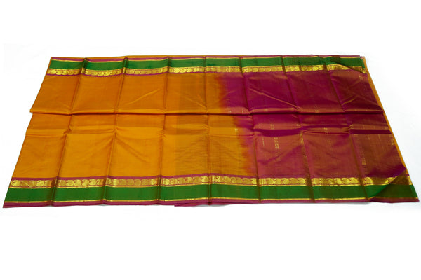 17044 Mustard with Green Border and Peach Pallu