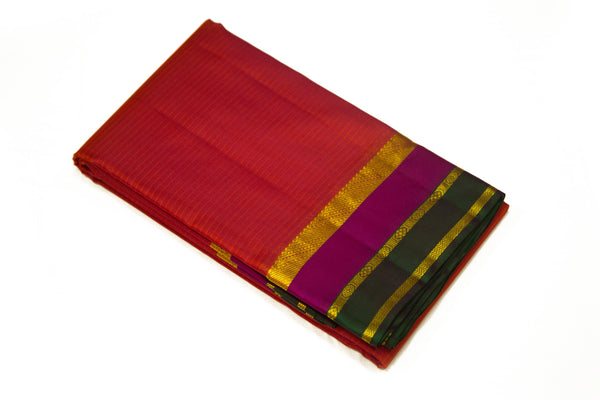 17015 Rust with Magenta Border and Pallu