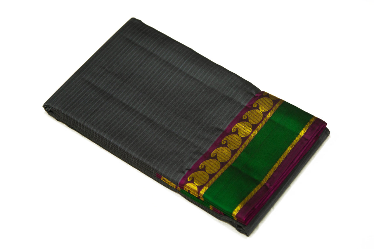 17042 Grey with Maroon Border and Pallu