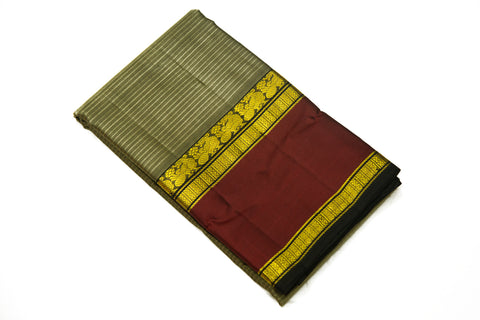 17045 Grey with Maroon Border and a Black Pallu