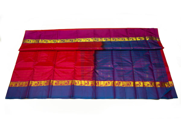 17027 Chilly Red with Navy Blue Pallu