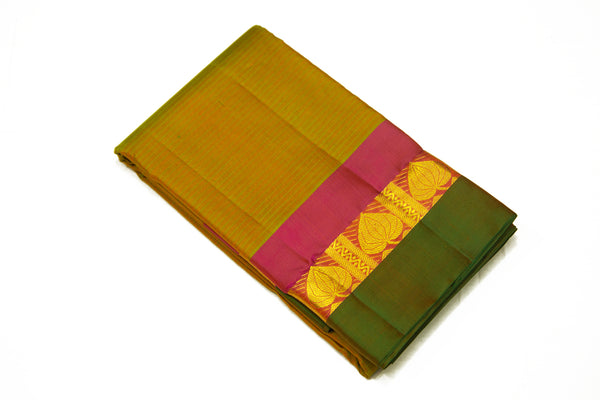 17026 Mustard Green Shot with Red Pallu