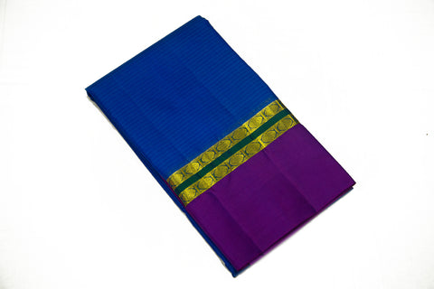 17021 MS Blue with Purple Border and Pallu