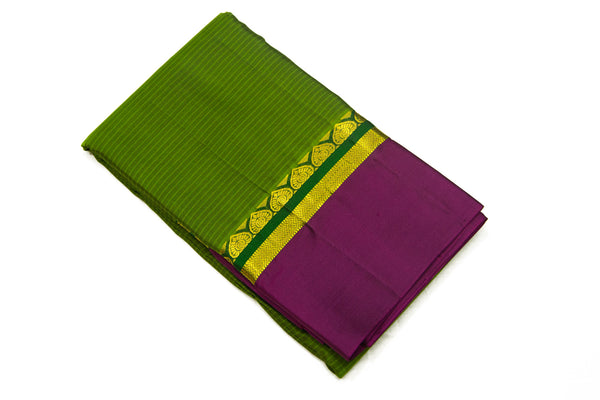 17025 Olive Green with Purple Border and Pallu