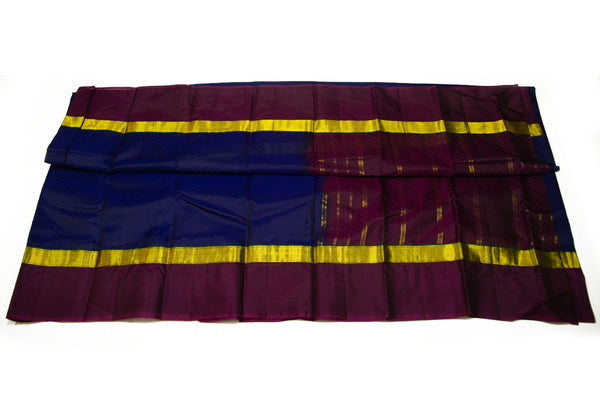 17032 Blue with Brown Border and Pallu