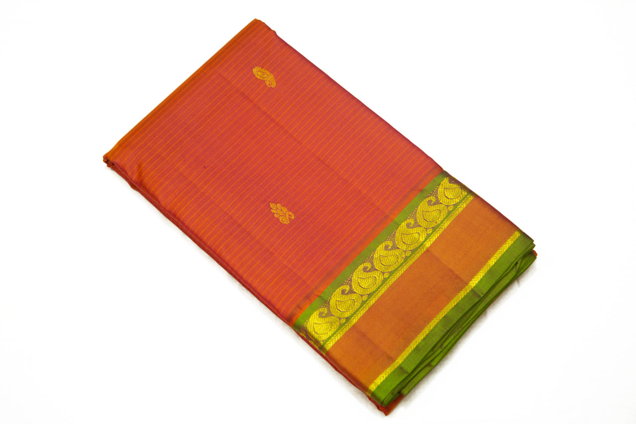 17056 Rust with Green Pallu