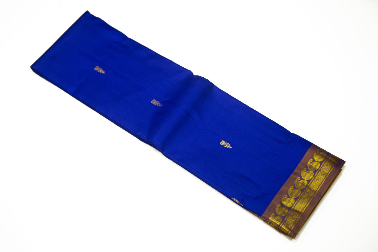 17051 Navy Blue with Brown Shot Pallu