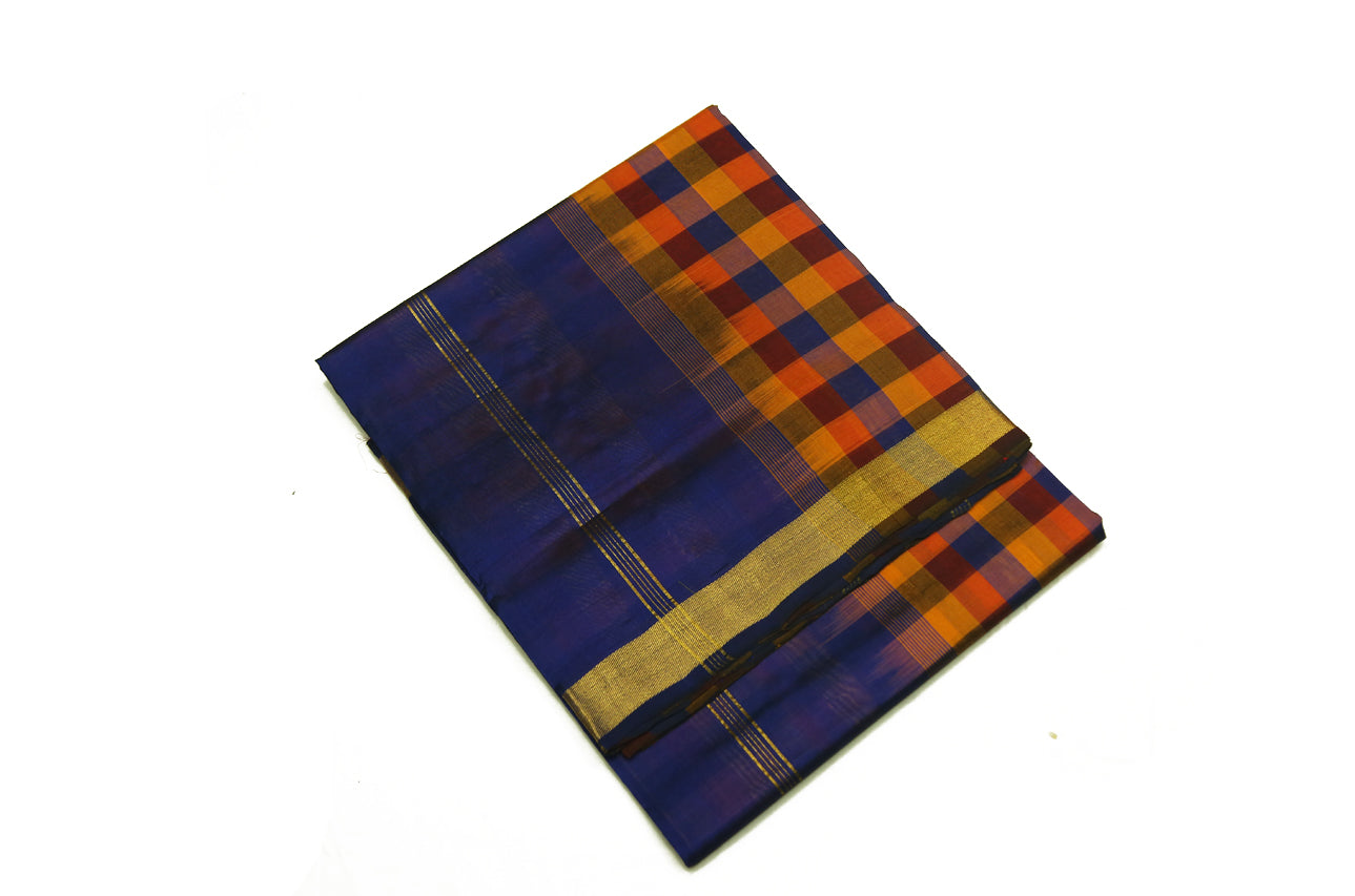 6045 Multi-colour Checks with Navy Blue Border