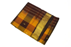 6014 Black, Mustard, Orange Checks with Self Border