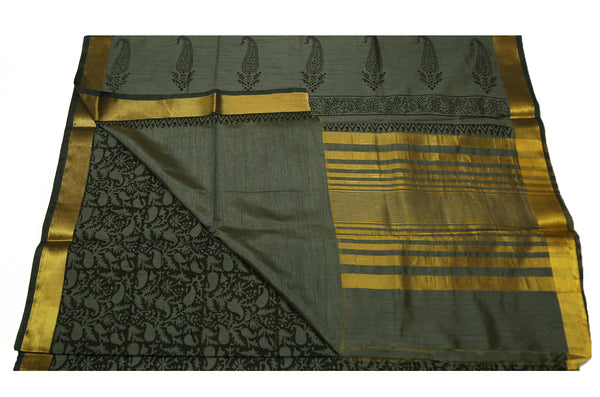 6066 Olive Green with Mango Print and Self Border