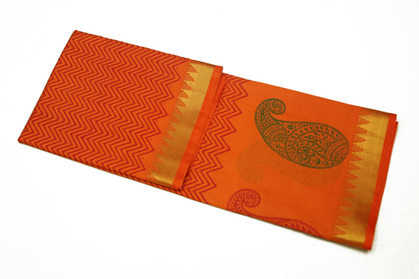 6073 Orange with Mango Border Butti