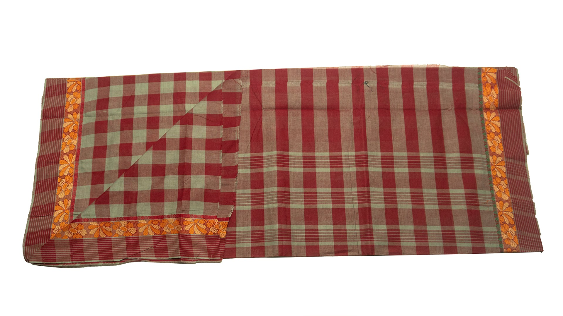39459  Pure Cotton Saree  thread border multicolour checks Grey with Maroon