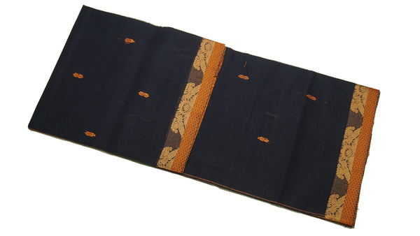 39463  Pure Cotton Saree narrow border with body buttis Navy Blue
