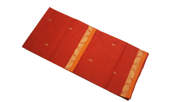 39468  Pure Cotton Saree narrow border with body buttis Rust