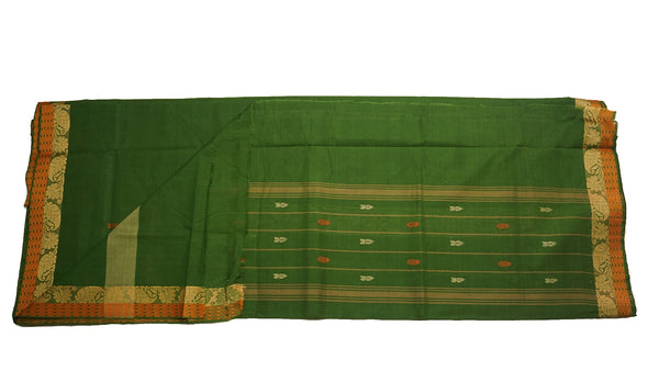 39464  Pure Cotton Saree narrow border with body buttis Olive Green