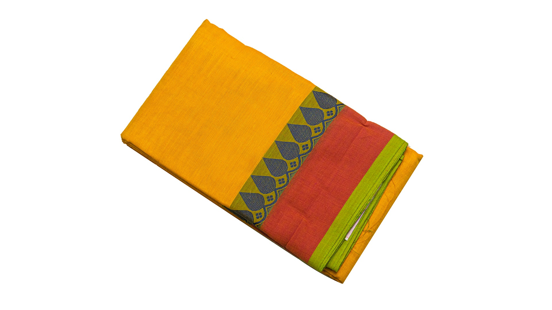 6002  Chettinad Cotton Saree thread border self Pallu Yellow