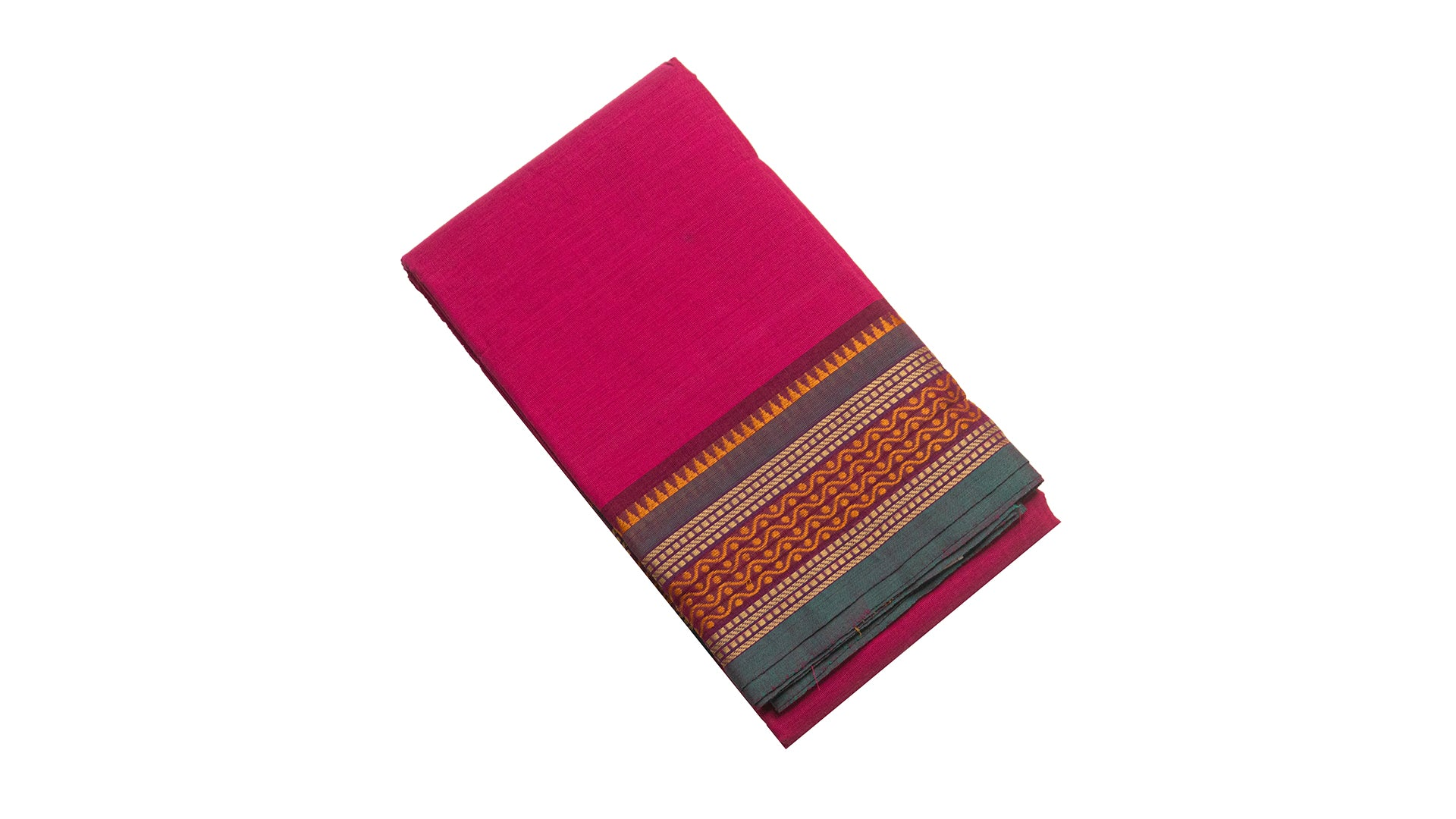6004  Chettinad Cotton Saree thread border self pallu Pink