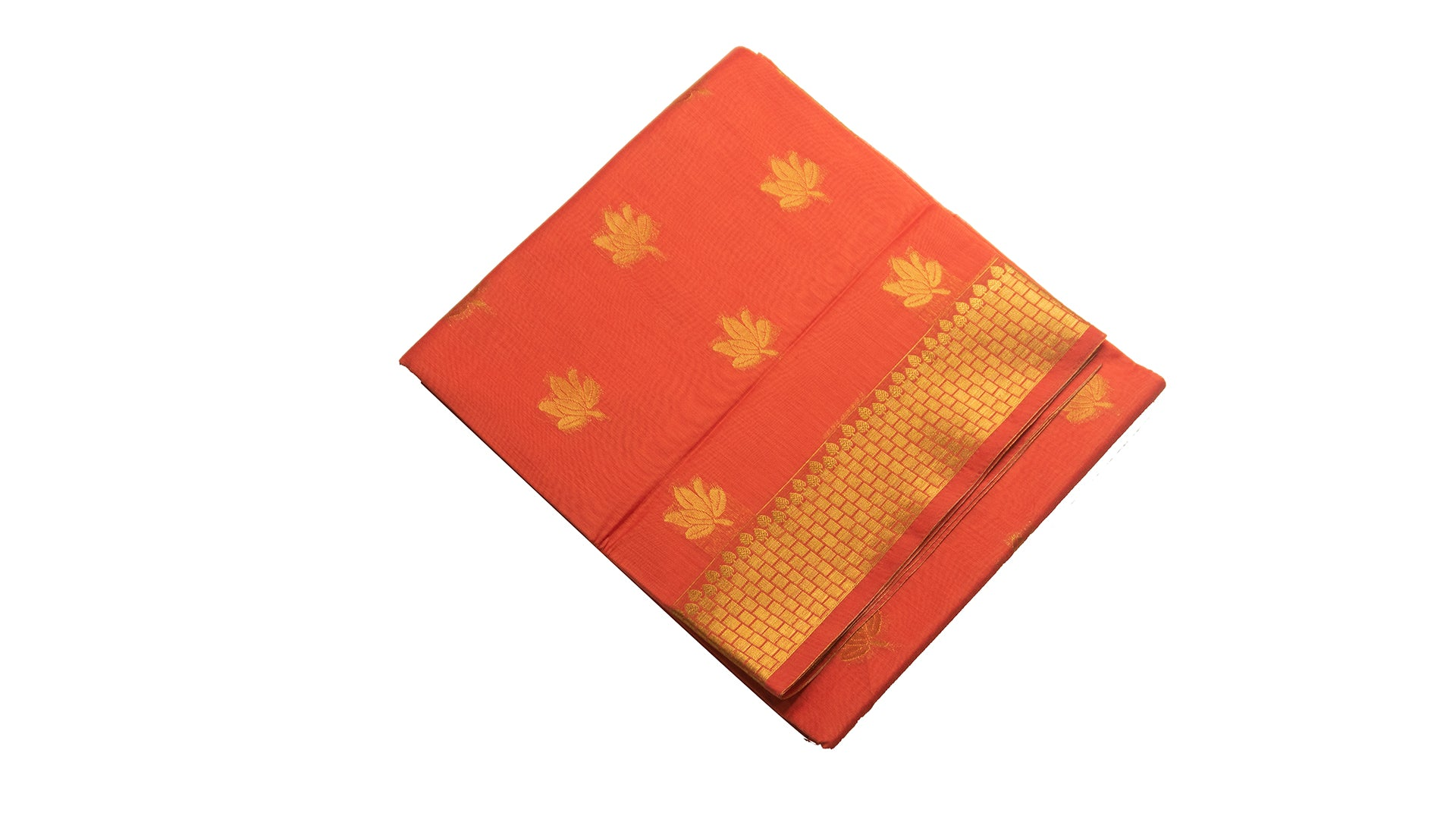 39028  Mercerised Silk Cotton Saree self zari border with buttis Pinkinsh Orange
