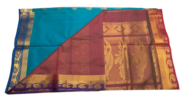 39099  Mercerised Silk Cotton Saree contrast zari border and pallu with buttis Peacock blue with arakku red double shade border