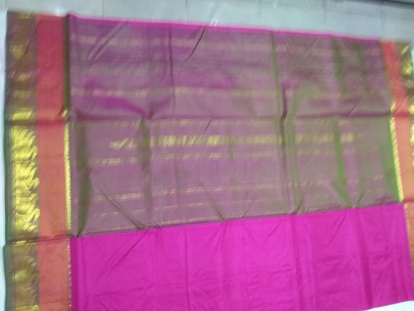 17065   9 Yards Pure Silk Saree Contrast border and Pallu Magenta with Green Mix