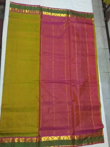 17120   9 Yards Pure Silk Saree Contrast border and Pallu Maanthulir with peach