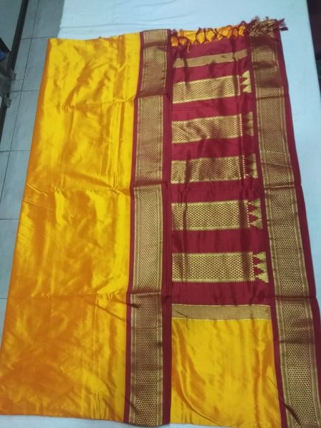 12   9 Yards Pure Silk Saree Half Diamond Contrast Korvai border contrast Pallu Mango with Arakku