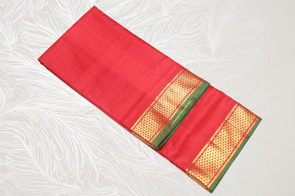 9    9 Yards Pure Silk Saree Contrast border self Pallu Arakku Koorai Bridal Saree