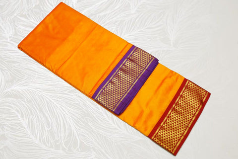 11   9 Yards Pure Silk Saree Ganga Jamuna Half Diamond Contrast Korvai border contrast Pallu Yellow with Violet and Arakku Pallu