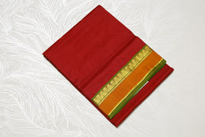 17114  9 Yards Pure Silk medium border contrast Pallu Arakku with green mix pallu