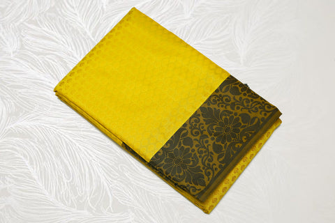 30111 Semi Silk Polyester Mix thread border emboss lemon with black border and pallu