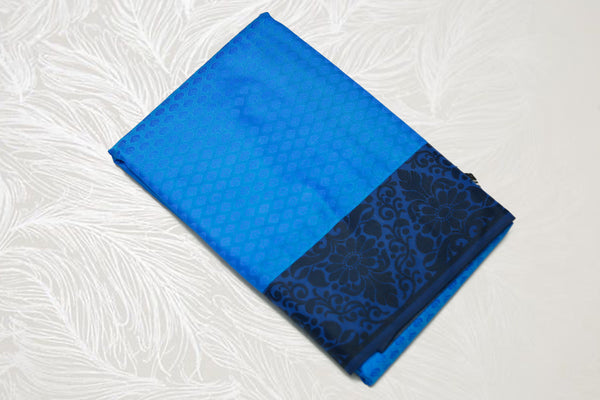 30108 Semi Silk Polyester Mix thread border emboss Royal blue with black border and pallu