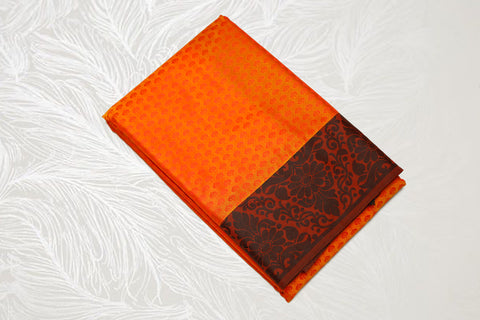30107 Semi Silk Polyester Mix thread border emboss Orange with black border and pallu