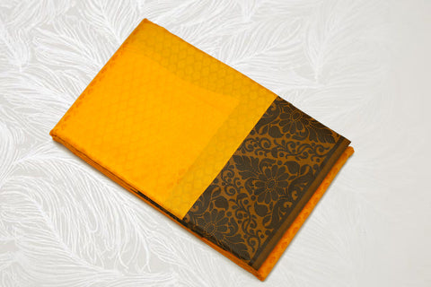 30110  Semi Silk Polyester Mix thread border emboss Mustard Yellow with Black border and pallu