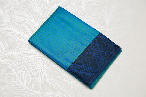 30103  Semi Silk Polyester Mix thread border emboss Blue with Violet border and black pallu