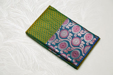 30149 Semi Silk Polyester Mix big white Zari and thread border emboss Karpagam Green with blue border and silver pallu
